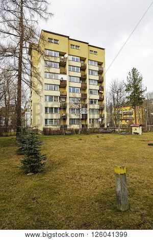 ZAKOPANE POLAND - MARCH 08 2016: Multi-family residential building constructed in the rapid and economical project realization is made of the finished constructional components was built in 1965