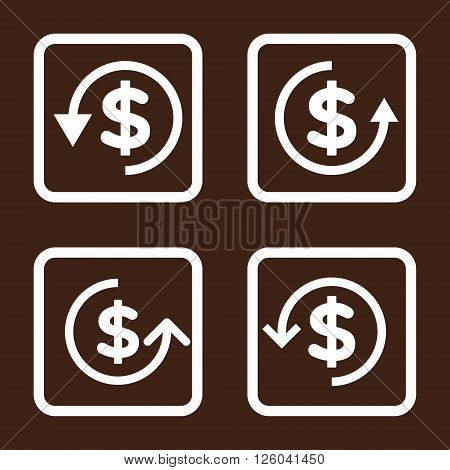 Refund vector icon. Image style is a flat icon symbol inside a square rounded frame, white color, brown background.
