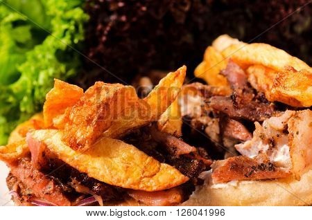 Image of French fries and meat close up