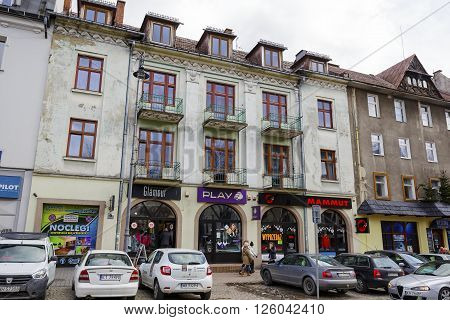 ZAKOPANE POLAND - MARCH 06 2016: Townhouse was built of brick and plastered approx. 1930 is located at Kosciuszki street. It is registered in the municipal register of architectural monument