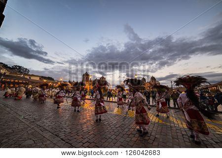 Traditional Dancing And Festival In Plaza De Armas, Cusco, Peru