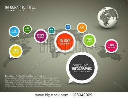 World map with simple pointer marks (speech bubbles) - minimalist infographics concept, brown version
