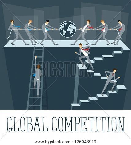 Vector flat business concept global competition