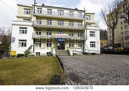 ZAKOPANE POLAND - MARCH 08 2016: Made of brick Pension Palace built in 1930 by Dr. Wlodzimierz Schneider entered in the register of monuments in 2000