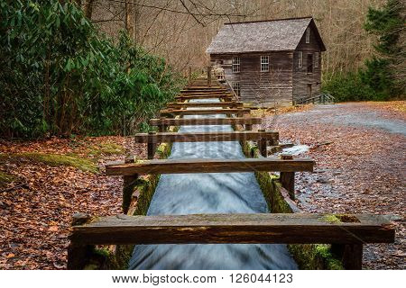 Mingus Mill in the Great Smoky Mountains National Park. The mill was built in the mid 1800's and is still in operation.