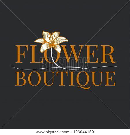 Flower shop logo vector. Florist background design element