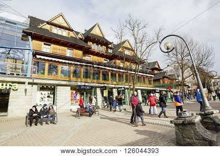 ZAKOPANE POLAND - MARCH 06 2016: Sabala Hotel built as Staszeczkowka in 1894 contains 50 rooms entered in the register of architecture monuments it was renovated in 1996
