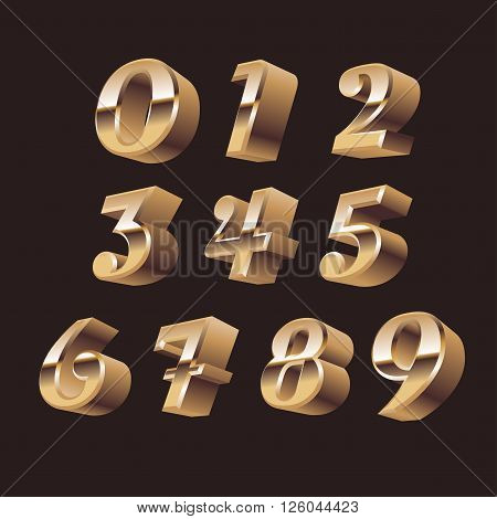 3d numbers set vector. 3d numbers symbols