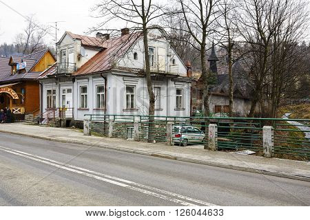 ZAKOPANE POLAND - MARCH 08 2016: Villa named Bright House (Jasny Domek) built of brick approx. 1905 listed in the municipal register of architectural heritage