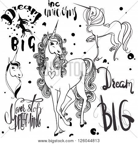 set with ink  sketched unicorns and phrases