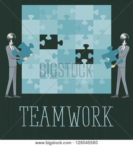 Teamwork right solution concept flat infographic vector. Business concept