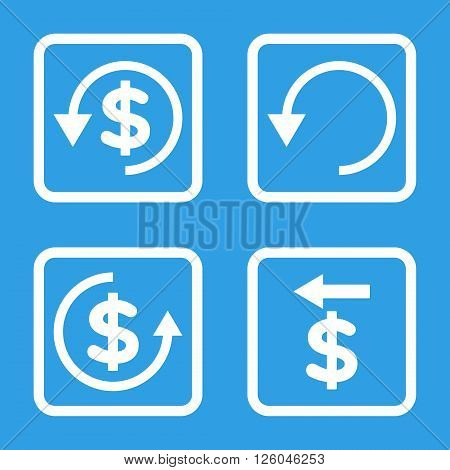 Chargeback vector icon. Image style is a flat icon symbol inside a square rounded frame, white color, blue background.