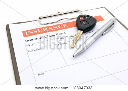 Car insurance form.  document, defence, form, key, lega