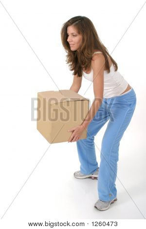 Beautiful Woman Lifting Box 2