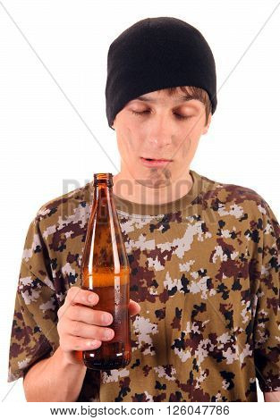 Beggar with a Beer Isolated on the White Background