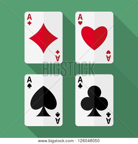 Set of four aces playing cards. Poker winning combination of four aces. Playing cards vector flat icons. Four aces flat icons. EPS8 vector illustration.