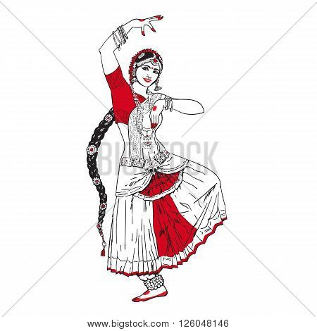 Bollywood star. Dancing girl. Indian dance. Oriental girl dancing on a white background. Girl in red oriental dress. Indian dance, movement, film. illustration