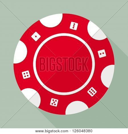 Casino chip vector flat icon. Gambling chip flat vector symbol. Chip for casino games vector flat design. Casino chip EPS8 vector illustration.