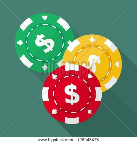 Set of casino chips vector flat icons. Gambling chips flat vector symbols. Chips for casino games vector flat design. Casino chips EPS8 vector illustration.