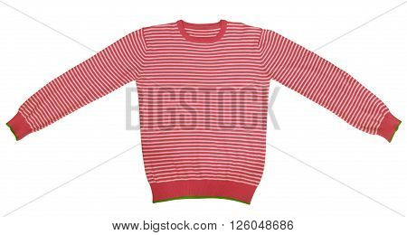 Red and white striped long sleeve t-shirt isolated on white. Clipping path included.