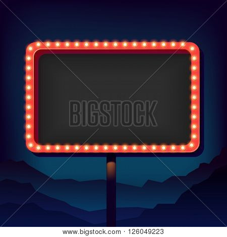 Vintage signboard with lights. Roadside sign. Road sign from the 50s. Retro character. Red billboard with lamps. Black background with a blank frame 3D. Shield against night mountain.
