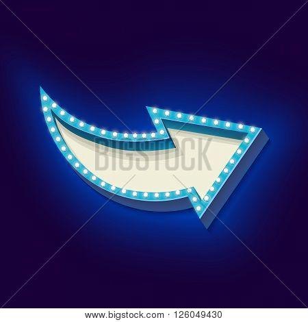 Realistic retro boom with neon lights. Volume frame with an arrow and blue light bulbs on a black background. There is an empty space for your advertising, promotions, text message.