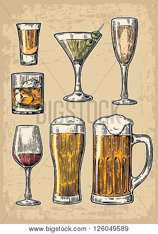 Set glass beer whiskey wine tequila cognac champagne cocktails. Vector engraved illustration isolated on beige vintage background.
