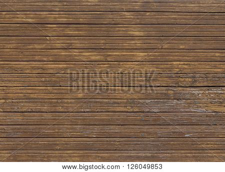 Old brown wooden background with horizontal boards from the old house