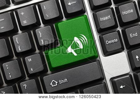 Conceptual Keyboard - Green Key With Megaphone Symbol