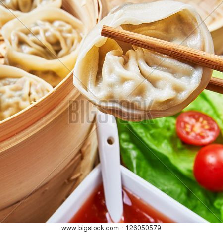 Steamed asian dumplings. Dumplings with fillings.Asian cuisine