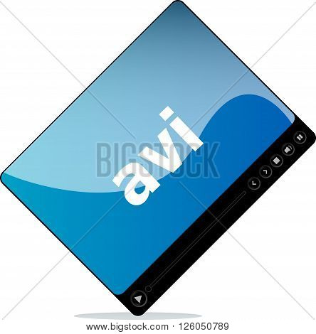 avi on media player interface isolated on white