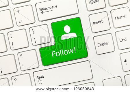 White Conceptual Keyboard - Follow (green Key)