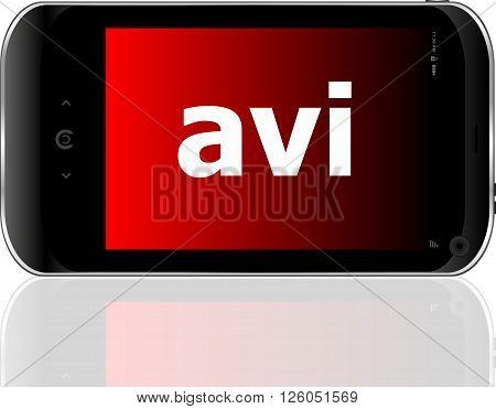 Web Development Concept: Smartphone With Word Avi On Display