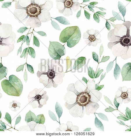 Seamless floral pattern with anemones. Watercolor illustration