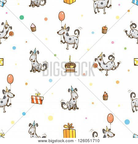 Vector birthday seamless pattern with cute cartoon dogs, presents, cake, balloons and confetti on yellow background.