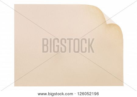Brown paper with rolled edge on white background
