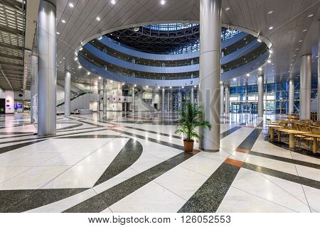 TOKYO, JAPAN - JULY 31, 2015: The Telecom Center lobby on Odaiba Island. The building is considered a telecommunications hub.