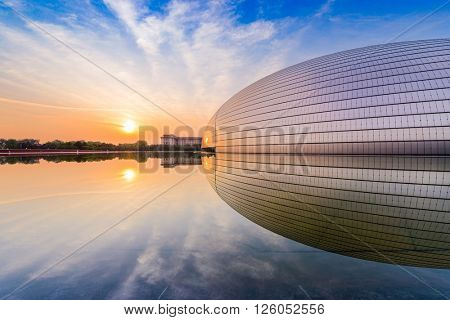 BEIJING, CHINA - JUNE 24, 2014: National Centre for the Performing Arts. The futuristic design stirred controversy when the theater was completed in 2007.