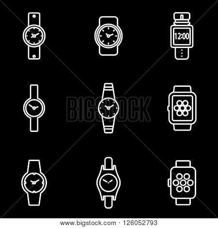 Vector line wristwatch icon set on black background