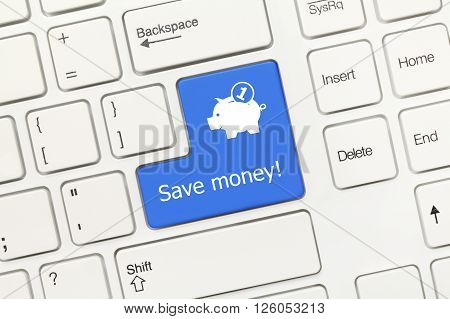 White Conceptual Keyboard - Save Money (blue Key With Moneybox Symbol)