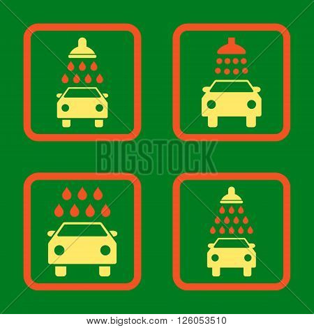 Carwash vector bicolor icon. Image style is a flat icon symbol inside a square rounded frame, orange and yellow colors, green background.