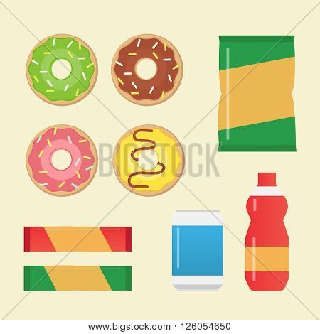 Vector set of fast food and sweet donuts