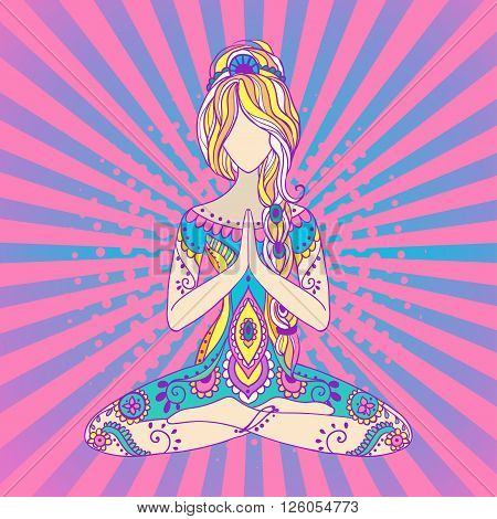 Ornament beautiful card with Vector yoga. Geometric element hand drawn. Balance karma medallion yoga india arabic harmony spiritual, mental and physical practices in the areas of Hinduism and Buddhism