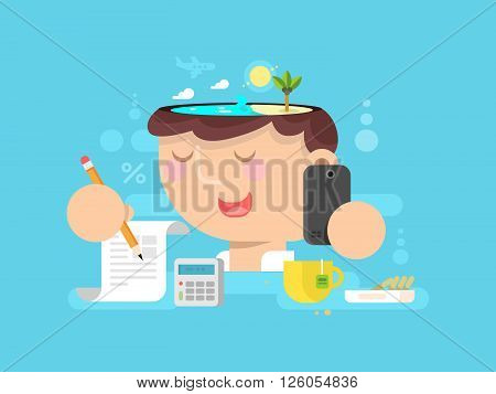 Thoughts in my head. vacation planning. Travel idea and think,  adventure and relaxation, vector illustration