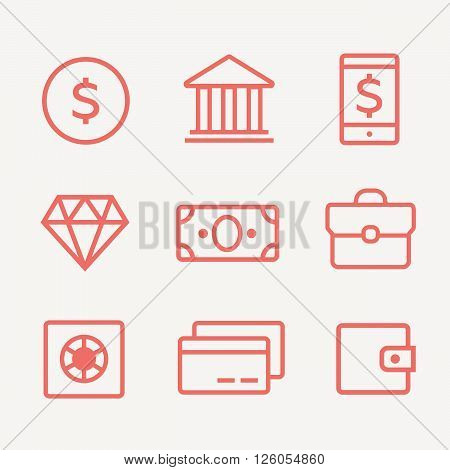 Finance, payments and money line vector icons set. Finance money, business finance, banking money credit