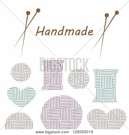 Knitting items, sewing equipment and needlework elements vector