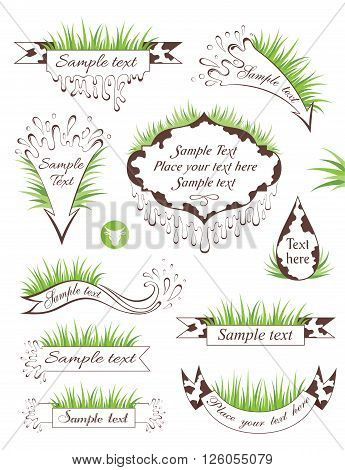 Milk banners. Set of spotty ribbons and frames with grass and copy space