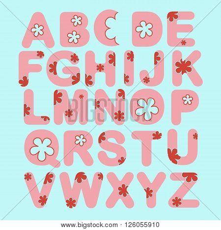 Alphabet set with flowers. ABC pink vector letters. Fun alphabet design vector illustration
