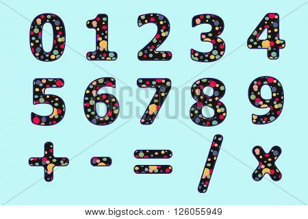 Numbers Set Of Colorful Circle