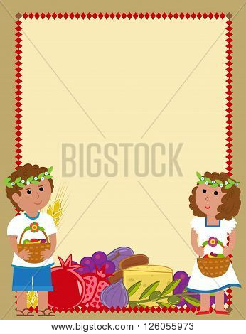 Shavuot blank sign with a boy and a girl holding fruit baskets and the holiday symbols at the bottom. Eps10
